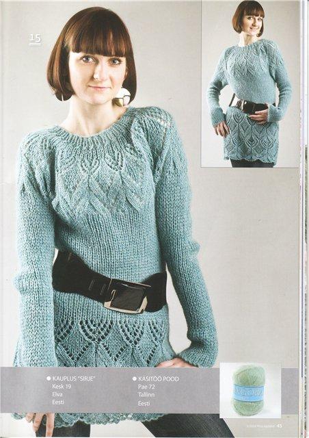 Описание вязания женского пуловера реглан с кокеткой узором косы. .