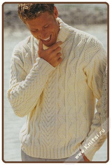 Вязание спицами - мужской свитер.  Вязание для мужчин свитера с.