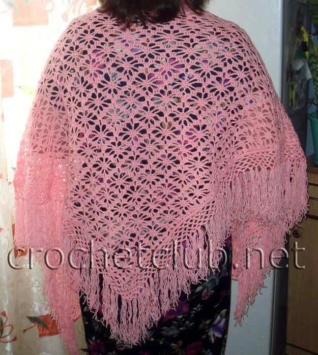 Часть 2. Серия сообщений.  Розовая шаль из квадратных мотивов.