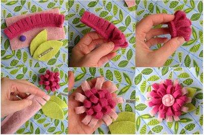 Изготовление цветов из ткани.  Хризантема.  ШьС'м сами шторы.