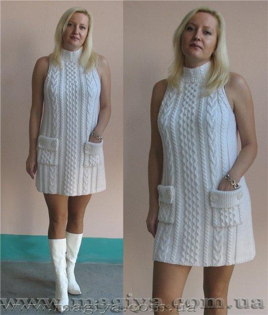 Платье из голубой пряжи вязание спицами.  Вам нужно: 300 г голубой.