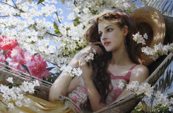 Девушка и цветы, живопись, женский образ.