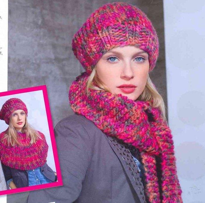 Вязаные шапка, вязаные шарфы, всё со схемами!  Вязание: шарфы, вязаные...