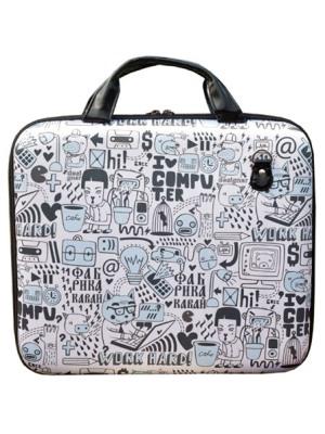 Большая черно-белая сумка для ноутбука и одновременно портфель для бумаг.