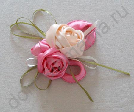 Розы из лент.  Шитьё.