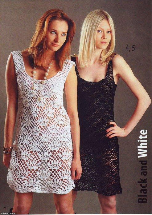 Вязание модели Платье вязать снизу вверх по кругу.