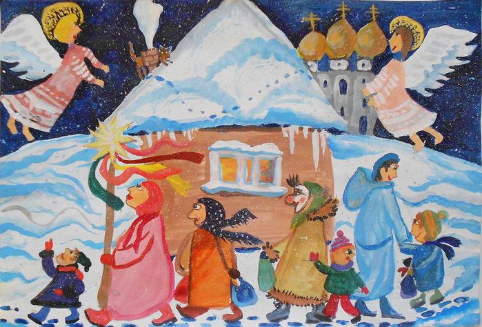 Картинки на тему рождество как нарисовать