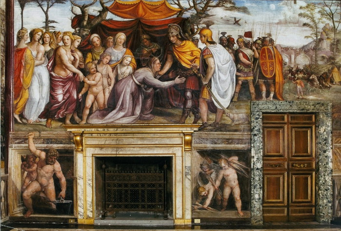 Семейство Дария перед Александром Македонским.  ок. 1517  Фреска. Вилла Фарнезина, Рим (700x474, 137Kb)