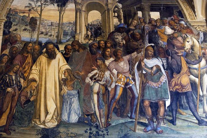 Бенедикт принимает знатных римских юношей Плацидия и Мавра (700x468, 158Kb)