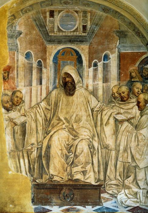 Бенедикт вручает монахам свой устав правил. Фреска. 1505-1508. Монте Оливето Маджор (488x700, 144Kb)