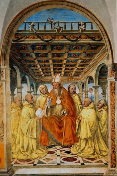 Конфирмация Ордена оливетов епископом Ареццо. 1503-1504. Фреска трапезной монастыря Св. Анны в Кампрене. (469x700, 126Kb)