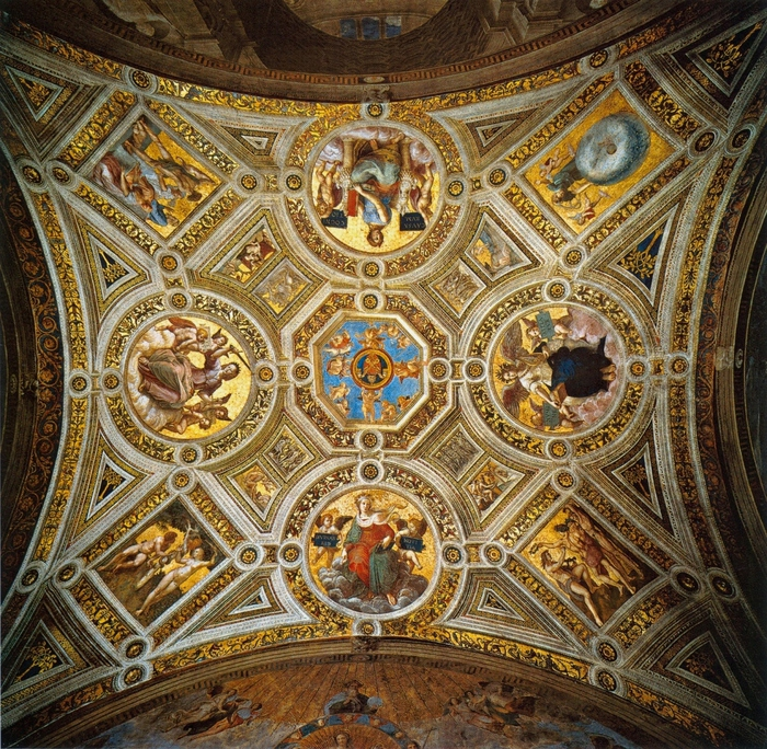 Содома и Рафаэль Санти. Роспись свода Станца делла Сеньятура. 1508   Ватикан. (700x684, 442Kb)