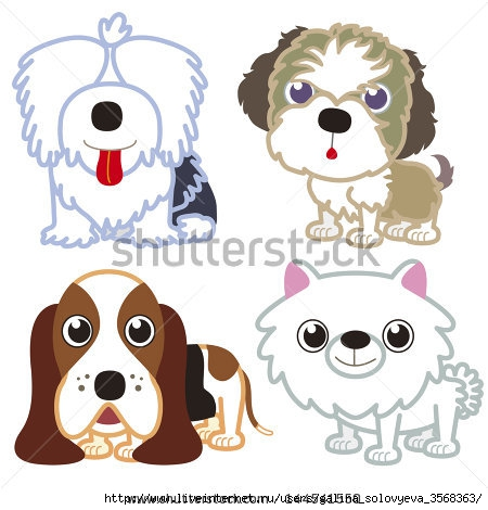 stock-photo-illustration-of-four-cartoon-cute-dog-collection-144541550 (450x470, 113Kb)