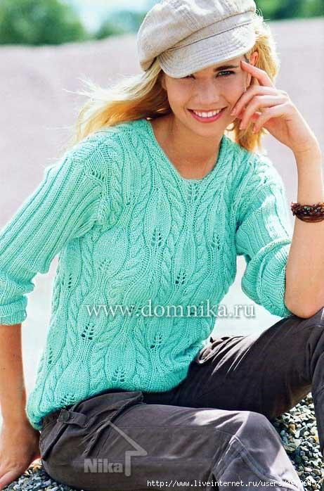 Красивый узор для пуловера (УЗОРЫ СПИЦАМИ ) Журнал