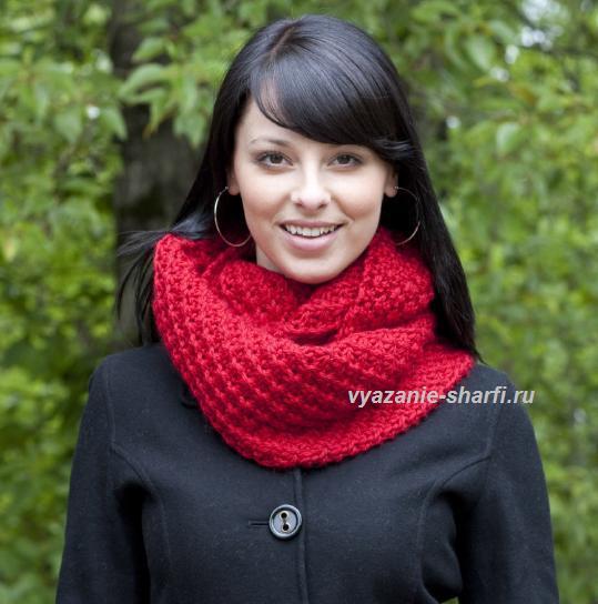 красный шарф хомут с плетеным узором спицы обсуждение на