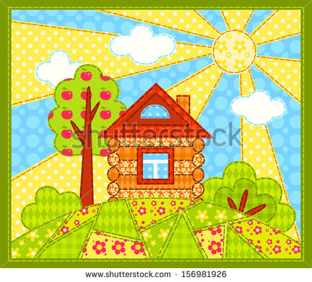 stock-vector-the-house-on-the-hill-patchwork-picture-vector-children-illustration-156981926 (450x407, 92Kb)