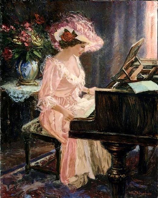 Ненад Миркович (р.1951). Пианистка в розовом (520x651, 274Kb)