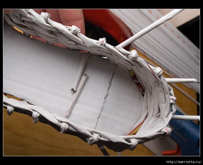 Плетение из газет. ТУФЕЛЬКА на шпильке. Мастер-класс (28) (700x571, 223Kb)