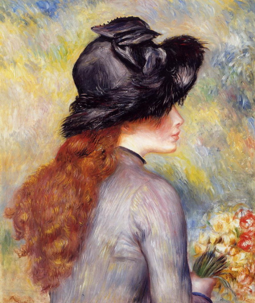 Pierre-Auguste Renoir (1841-1919). Young Girl Holding at Bouquet of Tulips - 1878 (504x600, 205Kb)