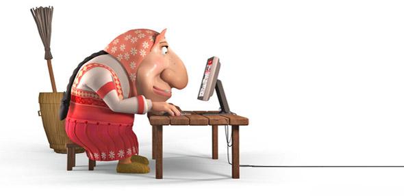 Картинка баба яга за компьютером