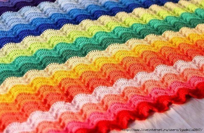 Образец вязания крючком из цветных ниток