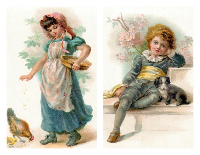 Старинные открытки с детьми и игрушками