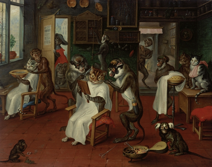 2097049_Teniers_Abraham_162970___Barbers_shop_with_Monkeys_and_Cats_oil_on_copper_24x31_cm__Kunsthistorisches_Museum_Vienna_Austria (700x550, 303Kb)