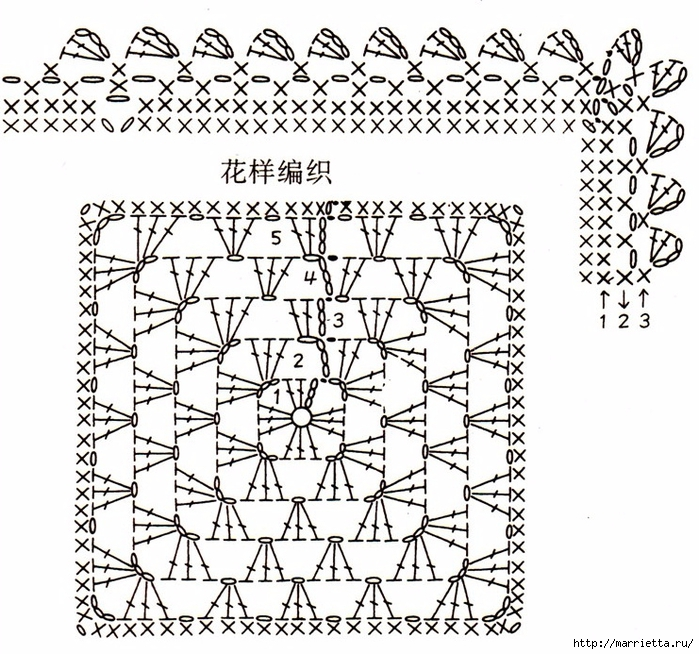 Детский плед и подушка крючком бабушкиными квадратами (1) (700x654, 363Kb)