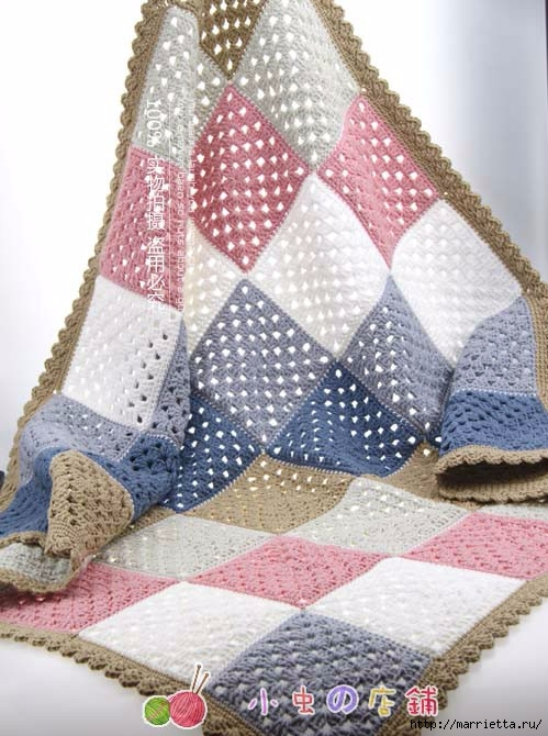 Детский плед и подушка крючком бабушкиными квадратами (3) (499x670, 212Kb)
