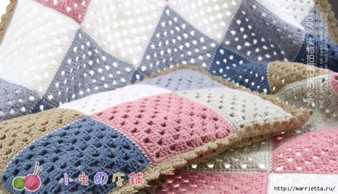 Детский плед и подушка крючком бабушкиными квадратами (6) (667x384, 186Kb)