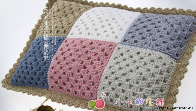 Детский плед и подушка крючком бабушкиными квадратами (8) (670x380, 169Kb)