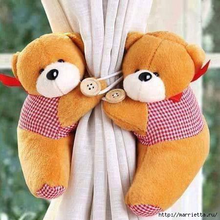 Фетровые мишки - подхваты для штор в детскую комнату (1) (450x450, 133Kb)