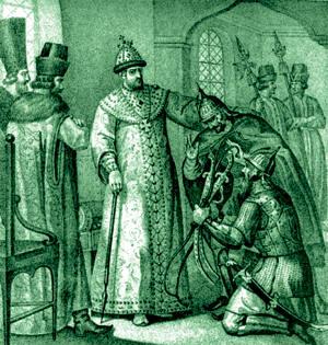 Запрещённая победа. Битва при Молодях. Князь Воротынский вручает Ивану Грозному трофеи битвы (300x315, 36Kb)