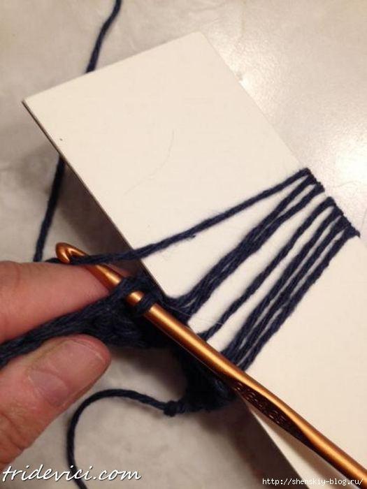 Вытянутые петли при вязании мочалок крючком