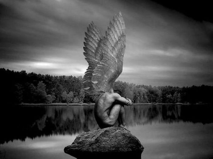 ангел черно-белая картинка