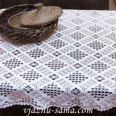 Скатерть прямоугольная скатерть ручной работы скатерть вязаная.
