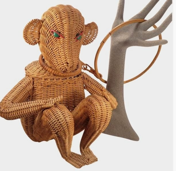 Vintage Figural Monkey Animal Wicker Purse (613x593, 144Kb)