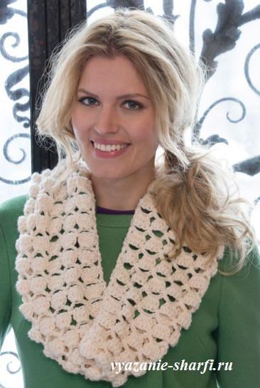 белый вязаный шарф хомут с шишечками крючок обсуждение на