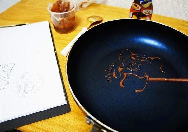 блинчики с карамельным рисунком
