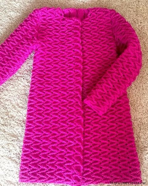 Фантазийный узор для вязания крючком пальто (5) (489x616, 332Kb)