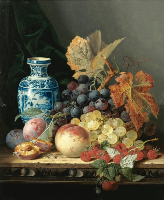 EDWARD-LADELL-1821-1886-1821-1886-STILL-LIFE-WITH-A-CHINESE-VASE-GRAPES-PLUMS-RASPBERRIES-AND-A-PEACH-ON-A-CARVED-WOODEN-TABLETOP (574x700, 269Kb)