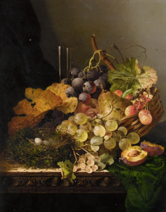 Ladell_Edward_Still_Life_with_a_Birds_Nest_Pear_Grapes_Cherries_And_A_Plum_and_a_Glass_Vase_On_A_Ledge_Oil_on_Canvas-large (547x700, 259Kb)
