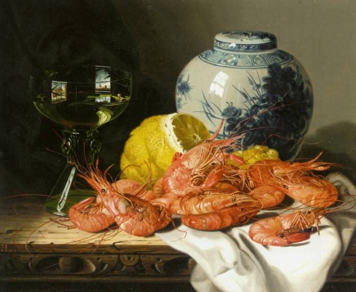Ladell_Edward_Still_Life_with_Prawns_a_Lemon_Wine_Glass_And_Delft_Pot_Oil_on_Canvas-large (700x574, 295Kb)