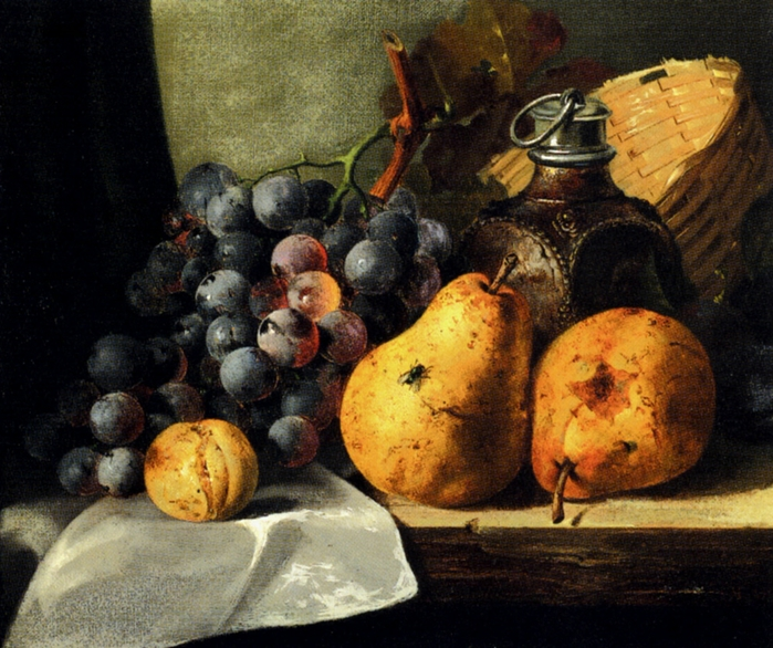 pears,_grapes,_a_greengage,_plums_a_stoneware_flask_and_a_wicker_basket_on_a_wooden_ledge-large (700x586, 342Kb)