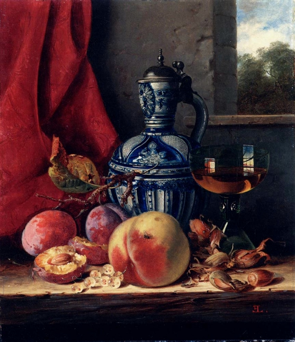 still_life_with_peaches,_whitecurrants,_hazelnuts,_a_glass_and_a_stoneware_jug_on_a_wooden_ledge_with_a_landscape_beyond-large (604x700, 308Kb)