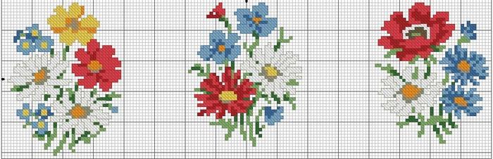 вышивка крестиком схемы по клеточкам картинки цветы