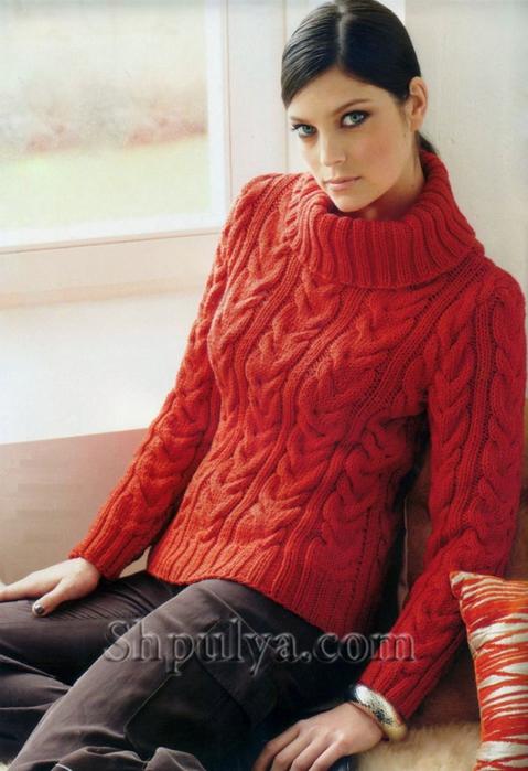 свитер с косами спицами самое интересное в блогах