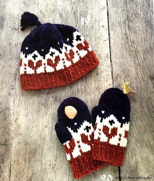 вязание спицами шапка и варежки с орнаментом обсуждение на