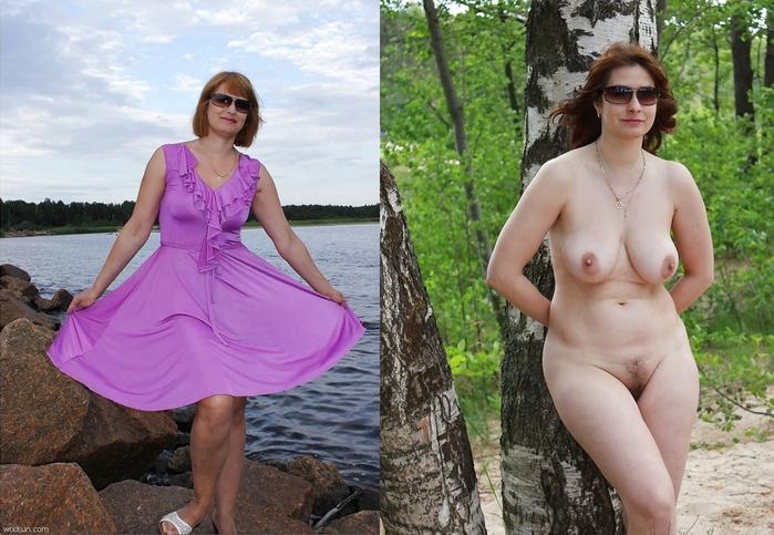 женщины в возрасте одетые и раздетые