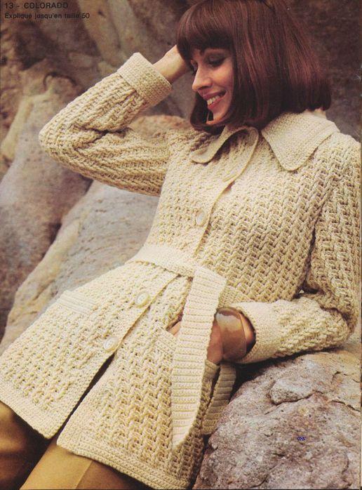 Вязаное пальто крючком. Схема и описания вязания пальто с.